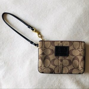 Coach Brown & Taupe w/ Black Leather Wristlet